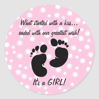 Started With A Kiss Wish Pink Custom Classic Round Sticker