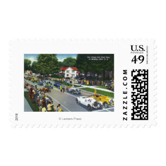 Starting Line at the Grand Prix Auto Race Postage