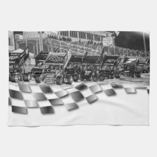 Starting Lineup Winged Sprint Cars Kitchen Towel