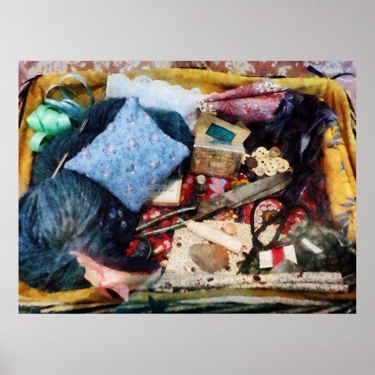 STARTING UNDER $20 - Basket of Sewing Supplies Poster