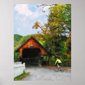 STARTING UNDER $20 - Bicyclist at Bridge Woodstock Poster