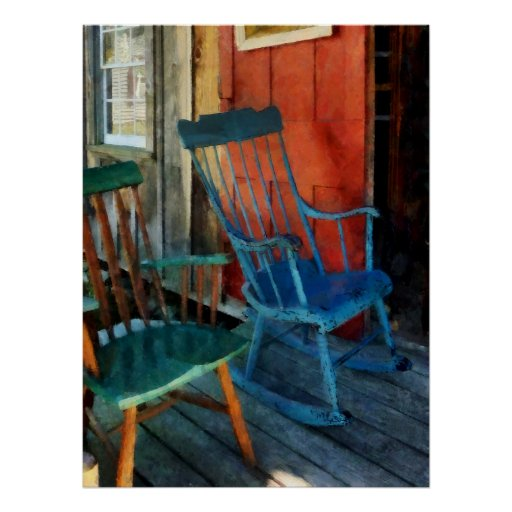 STARTING UNDER $20 - Blue Chair Against Red Door Poster