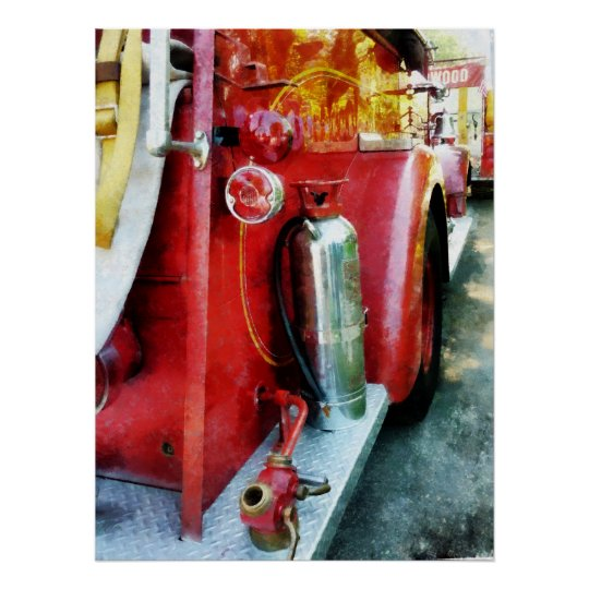 STARTING UNDER $20 Fire Extinguisher on Fire Truck Poster