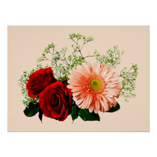 STARTING UNDER 20 - Gerbera Daisy And Two Roses Print