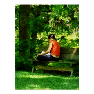 STARTING UNDER $20 - Girl Reading in Park Poster