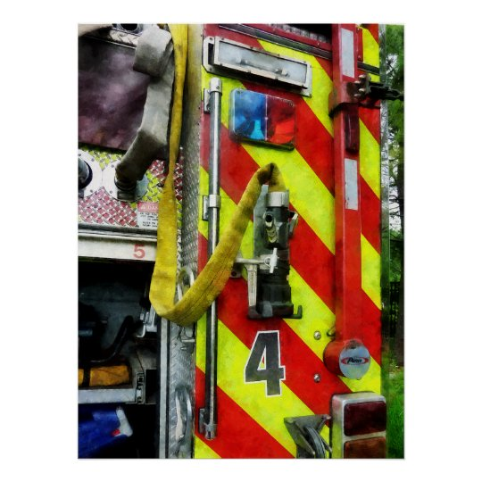 STARTING UNDER $20 - Hose on Striped Fire Engine Poster