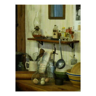 STARTING UNDER $20 Kitchen With Wire Basket Eggs Poster