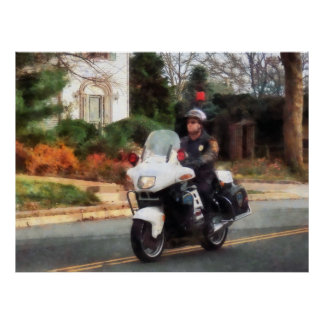 STARTING UNDER $20 - Motorcycle Cop on Patrol Poster