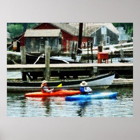 STARTING UNDER $20 Orange and Blue Kayaks Mystic Poster