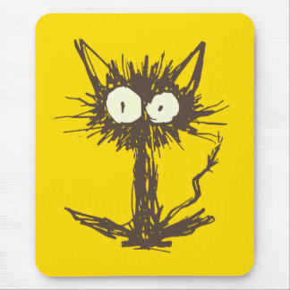 Startle Cat Yellow Mouse Pad