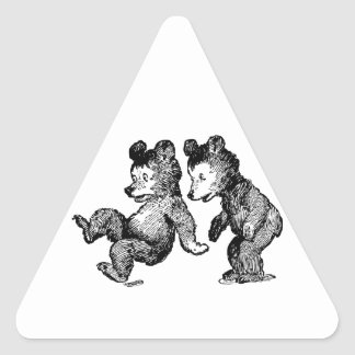 Startled Bears Triangle Sticker