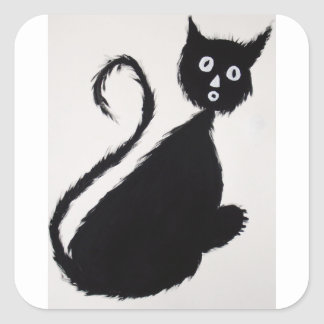 Startled Cat Square Sticker
