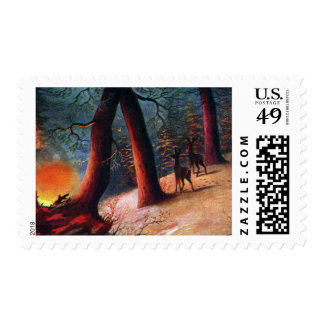 Startled Deer at Dusk Postage