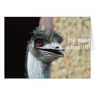 startled Emu Greeting Card