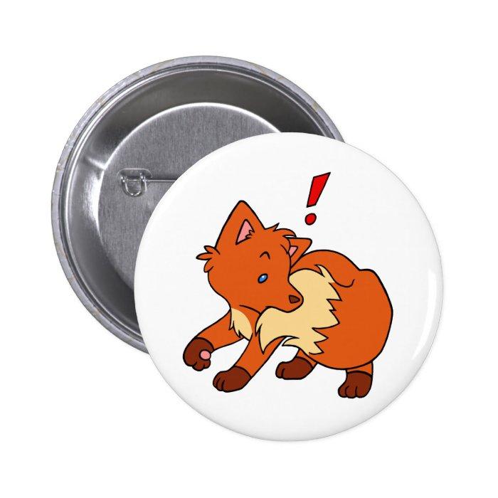 Startled Fox Pinback Button