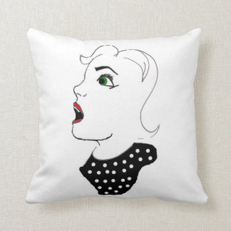 Startled Green Eyed Girl Throw Pillow