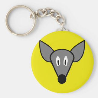 Startled mouse rat face basic round button keychain