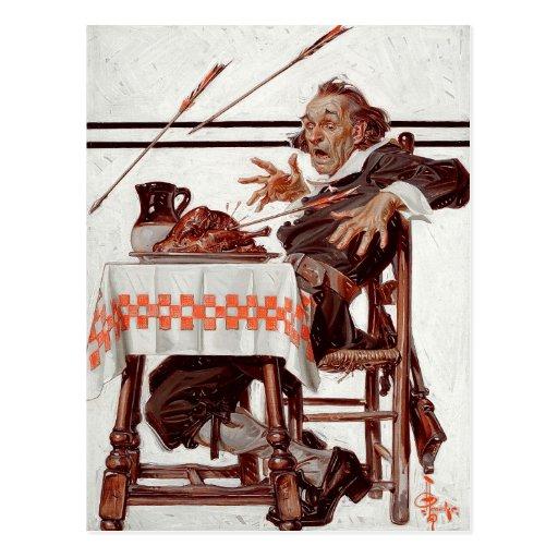 Startled Pilgrim. Humorous Thanksgiving Postcards