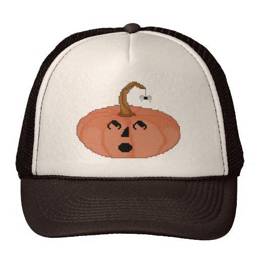 Startled Pumpkin Cross Stitch Pattern Trucker Hat