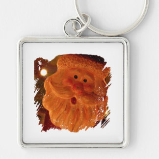 Startled Santa Claus Silver-Colored Square Keychain