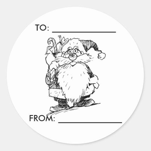 Startled Santa Gift Tag Round Sticker