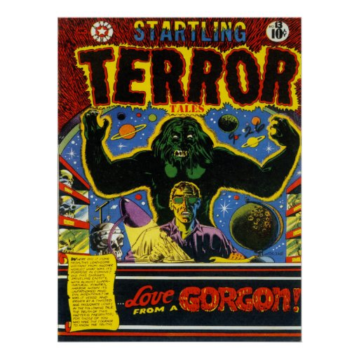 Cool Book Cover Posters : Startling terror cool vintage comic book cover art poster