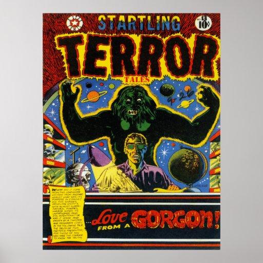 Vintage Comic Book Cover Art : Startling terror cool vintage comic book cover art poster
