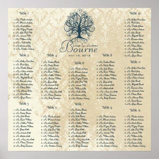 Starts at $13.20 Teal Tree Seating Chart 12 Tables Print