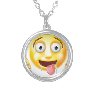 Starving Hungry Emoticon Emoji Round Pendant Necklace