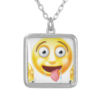 Starving Hungry Emoticon Emoji Square Pendant Necklace