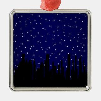 Stary Night Cityscape Metal Ornament