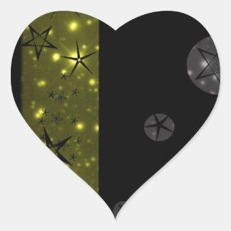 Stary Night Sky Pattern Heart Sticker