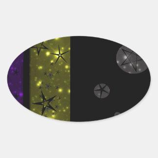 Stary Night Sky Pattern Oval Sticker
