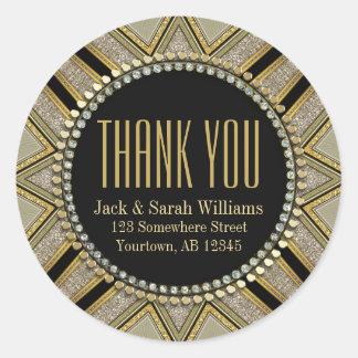 Starzi Art Deco Gold Black ThankYou Round Stickers