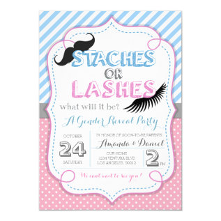 Stashes Or Lashes Gender Reveal Card at Zazzle