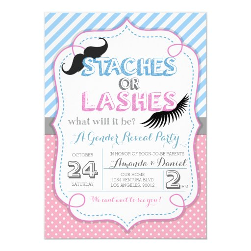 Stashes or Lashes Gender Reveal Card