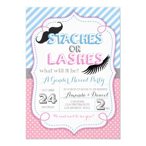 Stashes or Lashes Gender Reveal Invitation