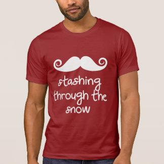stashing through the snow! funny mustache humor t shirt