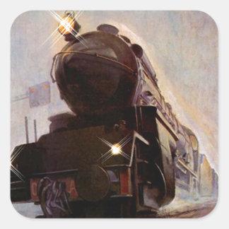 Stat de acero de la locomotora del vintage del pegatina cuadradas personalizadas