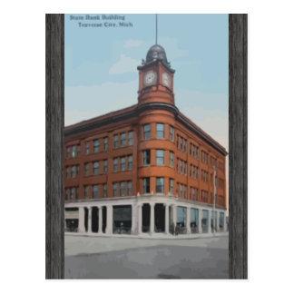 State Bank Building Traverse City, Mich, Vintage Postcard