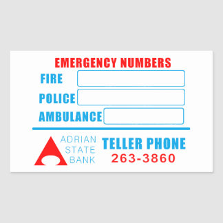 State Bank Emergency numbers sticker.