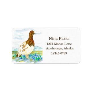 State Bird of Alaska Willow Ptarmigan Address Label