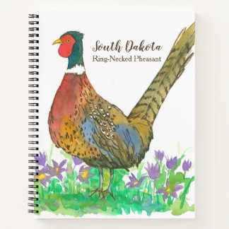 State Bird of South Dakota Pheasant Watercolor Notebook