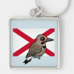 State Birdorable of Alabama: Northern Flicker Silver-Colored Square Keychain