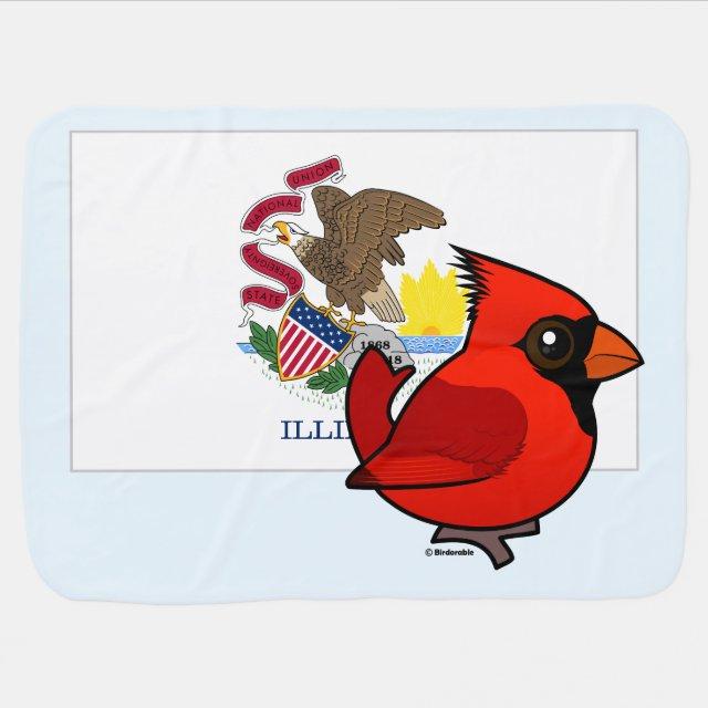 state birdorable of illinois northern cardinal baby blanket