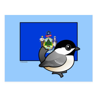 State Birdorable of Maine: Black-capped Chickadee Postcard