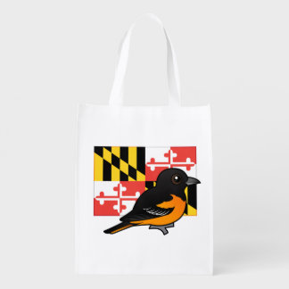 State Birdorable of Maryland: Baltimore Oriole Reusable Grocery Bag