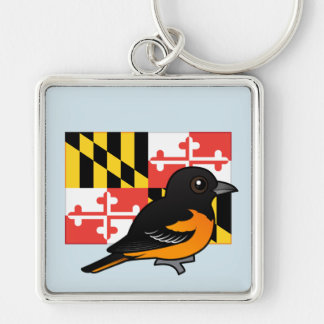 State Birdorable of Maryland: Baltimore Oriole Silver-Colored Square Keychain