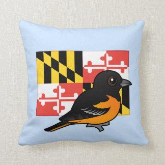 State Birdorable of Maryland: Baltimore Oriole Throw Pillow