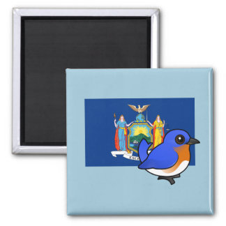 State Birdorable of New York: Eastern Bluebird 2 Inch Square Magnet